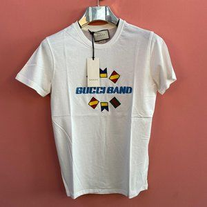 "Gucci Men Chest Embroidery Flag White T-Shirt ""M"""